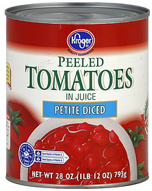 Kroger Tomatoes in Juice, Peeled, Petite Diced 28.0 oz Nutrition Information | ShopWell