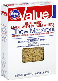 Kroger Elbow Macaroni 16 0 Oz Nutrition Information Shopwell