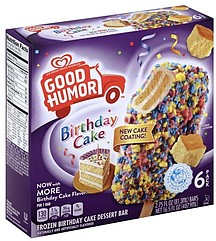 Good Humor Dessert Bar Birthday Cake 6.0 ea Nutrition Information ...