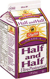 ShopRite Half and Half Ultra Pasteurized 16.0 oz Nutrition Information | ShopWell