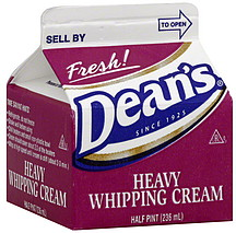 Dean S Heavy Whipping Cream 0 5 Pt Nutrition Information