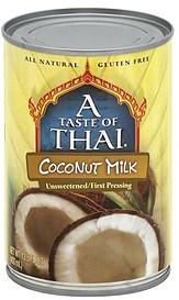 A Taste Of Thai Coconut Milk 13 5 Oz Nutrition Information Shopwell