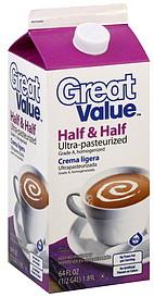 Great Value Half & Half 64.0 oz Nutrition Information | ShopWell