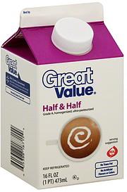 Great Value Half & Half 16.0 oz Nutrition Information | ShopWell