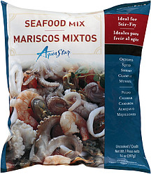 Aqua star seafood mix uncooked 14 0 oz nutrition for Walmart frozen fish