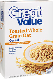 Great Value Cereal Toasted Whole Grain Oat 15.0 Oz Nutrition ...