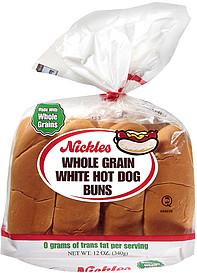 nickles hot dog buns whole grain white 12 0 oz nutrition information shopwell. Black Bedroom Furniture Sets. Home Design Ideas