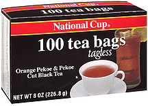 National Cup 100 Tea Bags Tagless