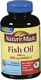 Nature made dietary supplement fish oil 1200 mg liquid for Fish oil nutrition facts